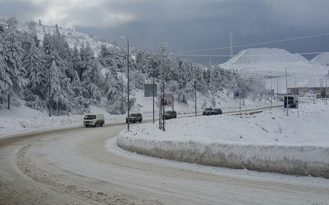 منخفض جوي حتى صباح الاحد والطقس عاصف والثلوج على 900 متر