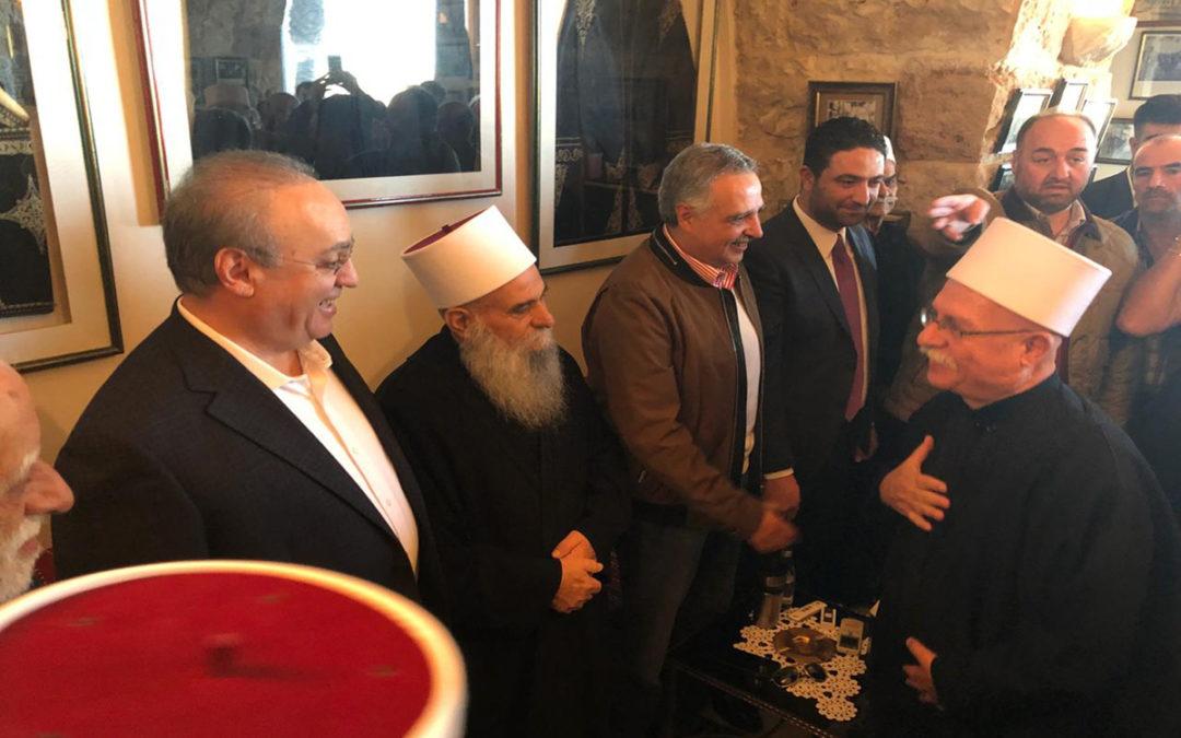 وهاب شارك باستقبال التهاني بتوزير الغريب الى جانب إرسلان والشيخ الغريب في دارة خلدة