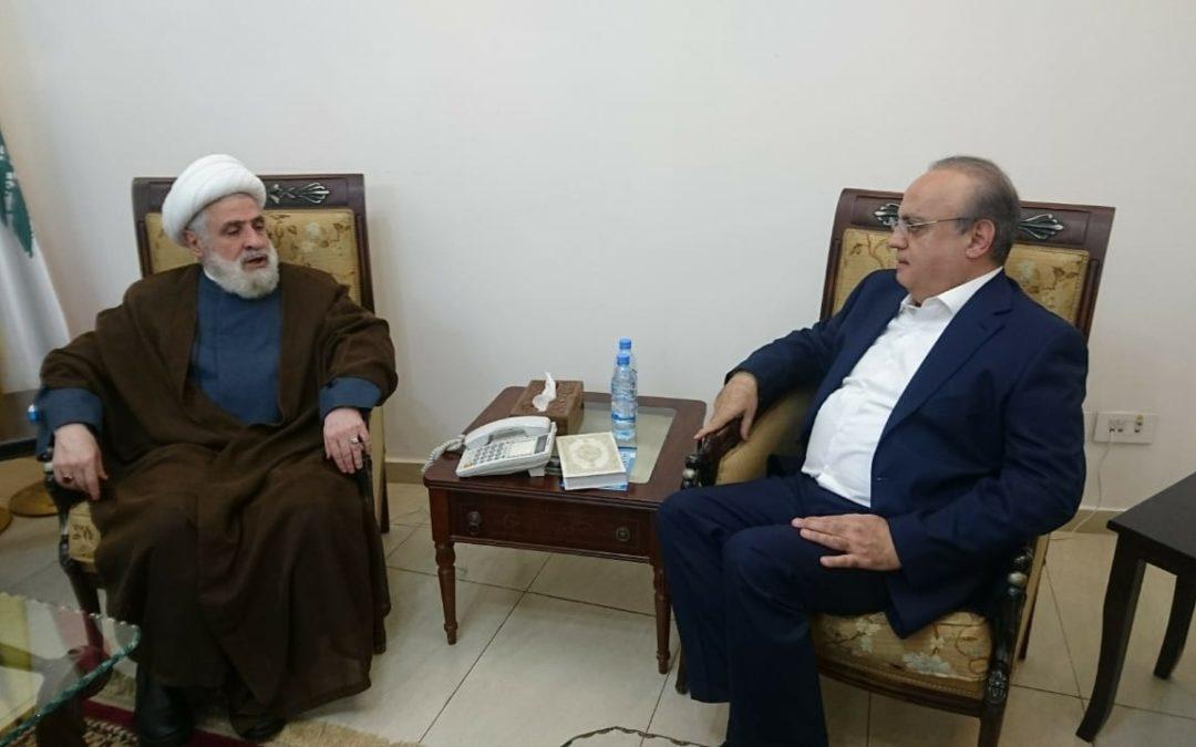 وهاب زار الشيخ نعيم قاسم وعرض معه الأوضاع في لبنان وأداء الحكومة