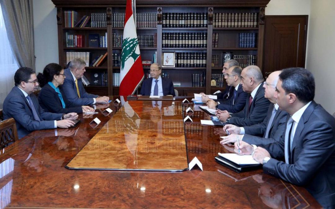 عون أبلغ كوبيتش خطورة الخروقات الاسرائيلية وطلب دعم لبنان في مواجهة الوضعين الاقتصادي والصحي ومأساة النازحين