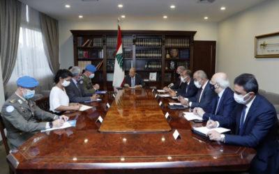 رئيس الجمهورية استقبل دل كول: التجديد لليونيفيل سنة إضافية ليس لمصلحة لبنان فحسب بل لمصلحة الحفاظ على الاستقرار على الحدود الجنوبية