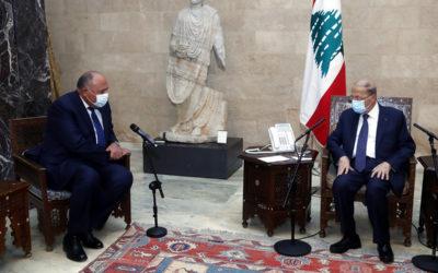 شكري من بعبدا: مصر مستمرة ببذل كل الجهود للتواصل مع كل الجهات للخروج من الأزمة